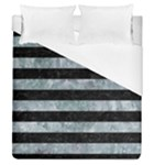 STRIPES2 BLACK MARBLE & ICE CRYSTALS Duvet Cover (Queen Size)