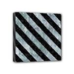 STRIPES3 BLACK MARBLE & ICE CRYSTALS Mini Canvas 4  x 4
