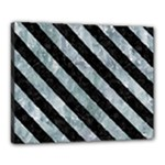 STRIPES3 BLACK MARBLE & ICE CRYSTALS Canvas 20  x 16