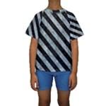 STRIPES3 BLACK MARBLE & ICE CRYSTALS Kids  Short Sleeve Swimwear