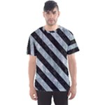 STRIPES3 BLACK MARBLE & ICE CRYSTALS Men s Sports Mesh Tee