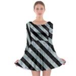 STRIPES3 BLACK MARBLE & ICE CRYSTALS Long Sleeve Skater Dress