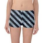 STRIPES3 BLACK MARBLE & ICE CRYSTALS Boyleg Bikini Bottoms