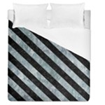 STRIPES3 BLACK MARBLE & ICE CRYSTALS Duvet Cover (Queen Size)