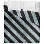 STRIPES3 BLACK MARBLE & ICE CRYSTALS Duvet Cover Double Side (California King Size)