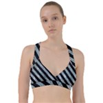 STRIPES3 BLACK MARBLE & ICE CRYSTALS Sweetheart Sports Bra