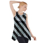 STRIPES3 BLACK MARBLE & ICE CRYSTALS Side Drop Tank Tunic
