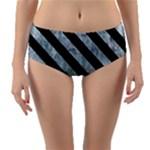 STRIPES3 BLACK MARBLE & ICE CRYSTALS Reversible Mid-Waist Bikini Bottoms