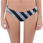 STRIPES3 BLACK MARBLE & ICE CRYSTALS Reversible Hipster Bikini Bottoms