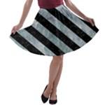 STRIPES3 BLACK MARBLE & ICE CRYSTALS A-line Skater Skirt