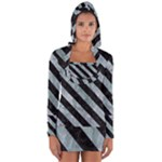 STRIPES3 BLACK MARBLE & ICE CRYSTALS Long Sleeve Hooded T-shirt