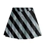 STRIPES3 BLACK MARBLE & ICE CRYSTALS Mini Flare Skirt