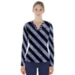 STRIPES3 BLACK MARBLE & ICE CRYSTALS V-Neck Long Sleeve Top