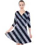 STRIPES3 BLACK MARBLE & ICE CRYSTALS Quarter Sleeve Front Wrap Dress