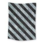 STRIPES3 BLACK MARBLE & ICE CRYSTALS Medium Tapestry