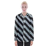 STRIPES3 BLACK MARBLE & ICE CRYSTALS Womens Long Sleeve Shirt