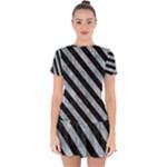 STRIPES3 BLACK MARBLE & ICE CRYSTALS Drop Hem Mini Chiffon Dress