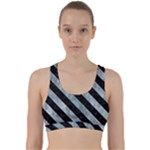STRIPES3 BLACK MARBLE & ICE CRYSTALS Back Weave Sports Bra
