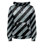STRIPES3 BLACK MARBLE & ICE CRYSTALS (R) Women s Pullover Hoodie
