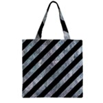 STRIPES3 BLACK MARBLE & ICE CRYSTALS (R) Zipper Grocery Tote Bag