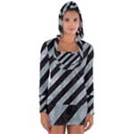 STRIPES3 BLACK MARBLE & ICE CRYSTALS (R) Long Sleeve Hooded T-shirt