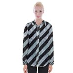 STRIPES3 BLACK MARBLE & ICE CRYSTALS (R) Womens Long Sleeve Shirt