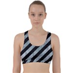 STRIPES3 BLACK MARBLE & ICE CRYSTALS (R) Back Weave Sports Bra