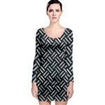 WOVEN2 BLACK MARBLE & ICE CRYSTALS (R) Long Sleeve Bodycon Dress