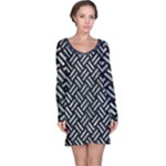 WOVEN2 BLACK MARBLE & ICE CRYSTALS (R) Long Sleeve Nightdress