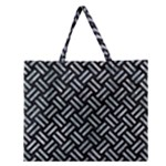 WOVEN2 BLACK MARBLE & ICE CRYSTALS (R) Zipper Large Tote Bag