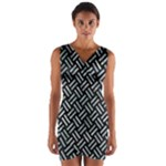WOVEN2 BLACK MARBLE & ICE CRYSTALS (R) Wrap Front Bodycon Dress