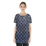 WOVEN2 BLACK MARBLE & ICE CRYSTALS (R) Skirt Hem Sports Top
