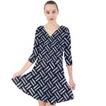 WOVEN2 BLACK MARBLE & ICE CRYSTALS (R) Quarter Sleeve Front Wrap Dress