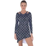 WOVEN2 BLACK MARBLE & ICE CRYSTALS (R) Asymmetric Cut-Out Shift Dress