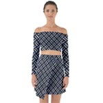 WOVEN2 BLACK MARBLE & ICE CRYSTALS (R) Off Shoulder Top with Skirt Set