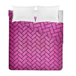 BRICK2 BLACK MARBLE & PINK BRUSHED METAL Duvet Cover Double Side (Full/ Double Size)