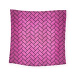 BRICK2 BLACK MARBLE & PINK BRUSHED METAL Square Tapestry (Small)