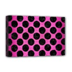 CIRCLES2 BLACK MARBLE & PINK BRUSHED METAL Deluxe Canvas 18  x 12
