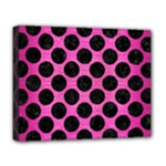 CIRCLES2 BLACK MARBLE & PINK BRUSHED METAL Deluxe Canvas 20  x 16