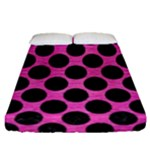 CIRCLES2 BLACK MARBLE & PINK BRUSHED METAL Fitted Sheet (Queen Size)