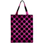 CIRCLES2 BLACK MARBLE & PINK BRUSHED METAL Zipper Classic Tote Bag