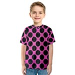CIRCLES2 BLACK MARBLE & PINK BRUSHED METAL Kids  Sport Mesh Tee