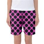 CIRCLES2 BLACK MARBLE & PINK BRUSHED METAL Women s Basketball Shorts