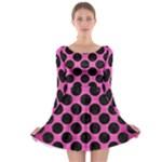 CIRCLES2 BLACK MARBLE & PINK BRUSHED METAL Long Sleeve Skater Dress
