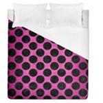 CIRCLES2 BLACK MARBLE & PINK BRUSHED METAL Duvet Cover (Queen Size)