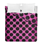 CIRCLES2 BLACK MARBLE & PINK BRUSHED METAL Duvet Cover Double Side (Full/ Double Size)