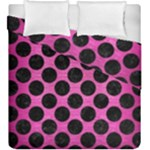 CIRCLES2 BLACK MARBLE & PINK BRUSHED METAL Duvet Cover Double Side (King Size)