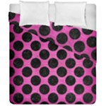 CIRCLES2 BLACK MARBLE & PINK BRUSHED METAL Duvet Cover Double Side (California King Size)