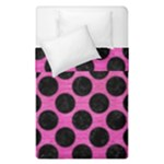 CIRCLES2 BLACK MARBLE & PINK BRUSHED METAL Duvet Cover Double Side (Single Size)