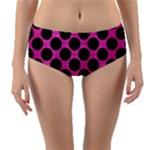 CIRCLES2 BLACK MARBLE & PINK BRUSHED METAL Reversible Mid-Waist Bikini Bottoms